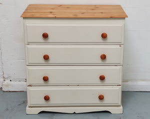 Vintage Solid Pine Chest of Drawers - White & Pine