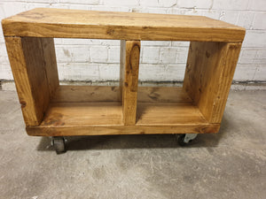 Solid Wood Cubed Side Table On Castors
