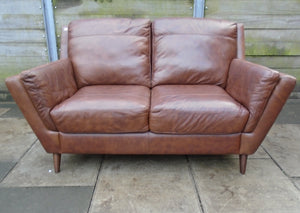 2 Seater Brown Leather Sofa - 185574