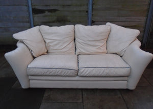 Modern 3 Seater Cream Leather Sofa - 111220-02