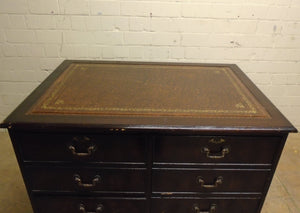Vintage Antique Leather Top 8 Drawer Filing Cabinet/Desk - 181220-02
