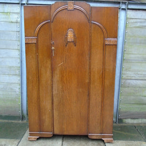 Vintage Art Deco-Style Single Door Wardrobe - 221220-08