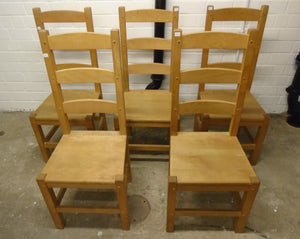 Set Of 5 Vintage High Back Wooden Dining/Kitchen Chairs - 185565/185569