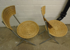 Matching Pair Of Vintage Wicker Folding Chairs - 311220-13/-14