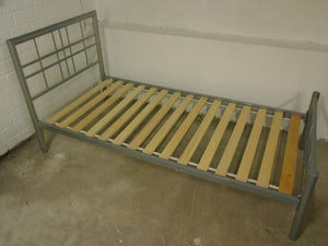 Single Silver Metal Bedframe With Slats - 040121-01