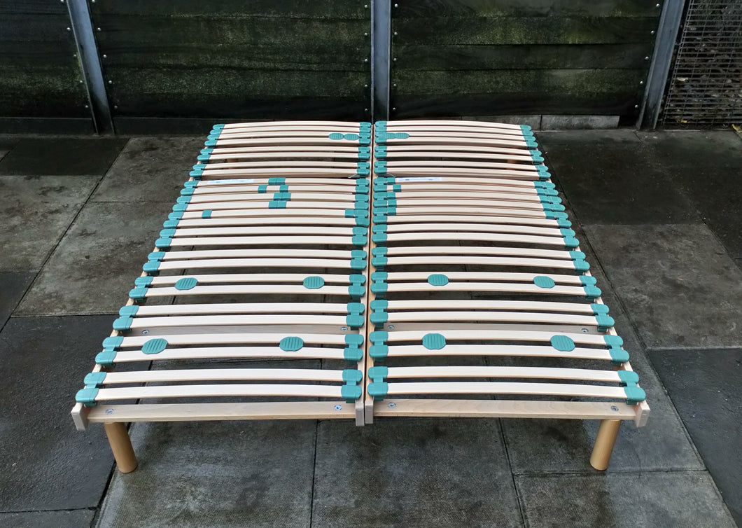 Wooden Double Slatted Bed Base Frame With Sprung Carved Slats
