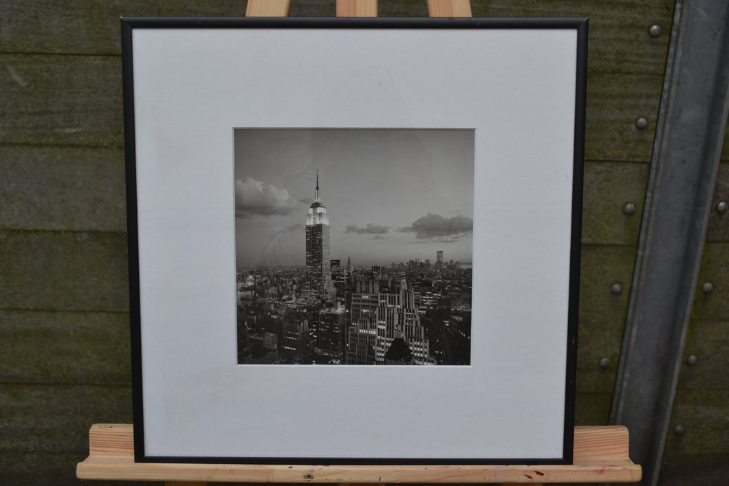 New York Skyline Picture - Framed Black & White Home Decor Wall Picture