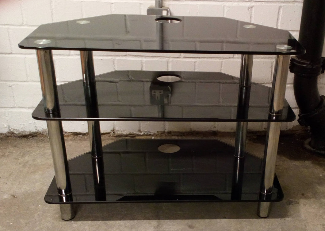 TV Stand/Media Unit, Black With Tempered Glass - 190121-05