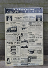Load image into Gallery viewer, Vintage Style Retro Metal Wall Sign - London Graphic Times