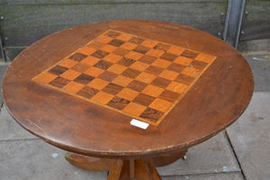 Vintage Solid Wood Round Chess Board Table