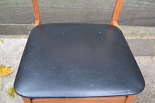 Load image into Gallery viewer, Vintage Wood Frame Curved Back Chair Black Vinyl Seat