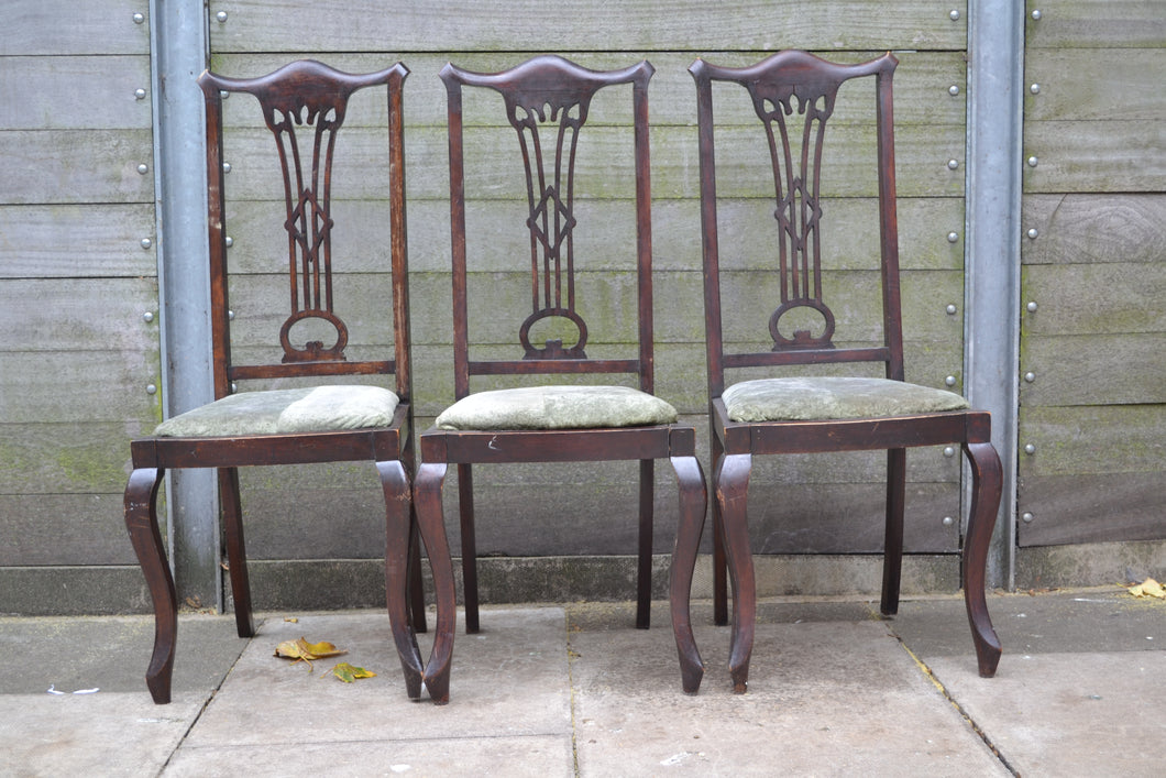 Set of 3 Vintage High Back Upholstered Dining Chairs