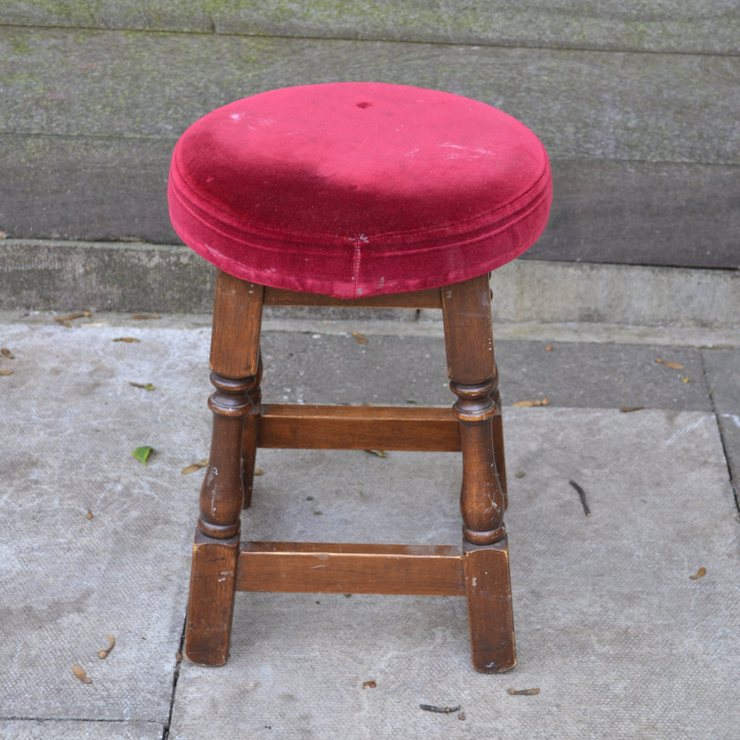 Vintage Style Small Wood Stool With Red Velvet Upholstered Top
