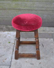 Load image into Gallery viewer, Vintage Style Small Wood Stool With Red Velvet Upholstered Top
