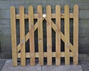 Solid Wood Rounded Top Wicket Garden Gate -TAFS