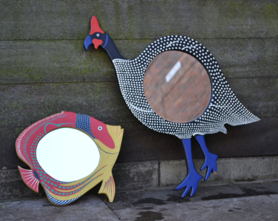 Set of 2 Quirky Wooden Animal Framed Mirrors