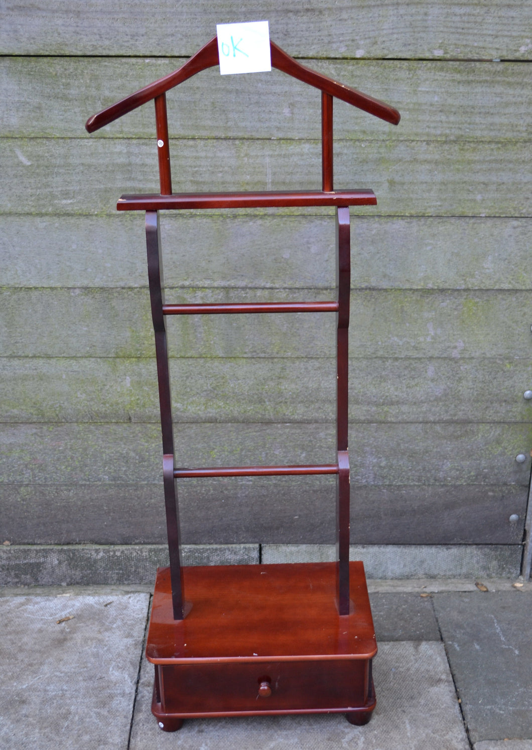 Vintage Wooden Clothes/Suit Gentleman's Valet/Butler Stand With Single Drawer - 184583