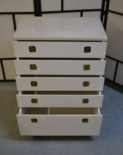 Load image into Gallery viewer, Vintage Austinsuite 5 Drawer Faux Marble Effect Top Chest of Drawers On Castors, White - 200121-06