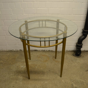 Modern Small Round Glass Topped Dining Table With Metal Frame - 040221-04