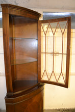 Load image into Gallery viewer, Vintage Dark Wood Corner Display Cabinet Unit -185690