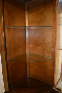 Vintage Dark Wood Corner Display Cabinet Unit -185690