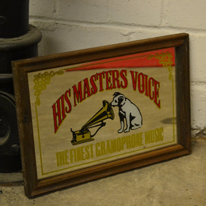 Rare Vintage HMV (His Master's Voice) Gramophone Mirror, Framed - 303472