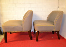 Load image into Gallery viewer, Matching Pair of Small Armless Accent Chairs, Beige With Gold Trim - 170221-05