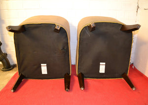 Matching Pair of Small Armless Accent Chairs, Beige With Gold Trim - 170221-05