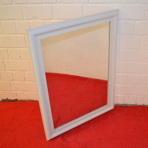 Rectangular Wall Mirror With Glossy Plastic Frame, White - 184550