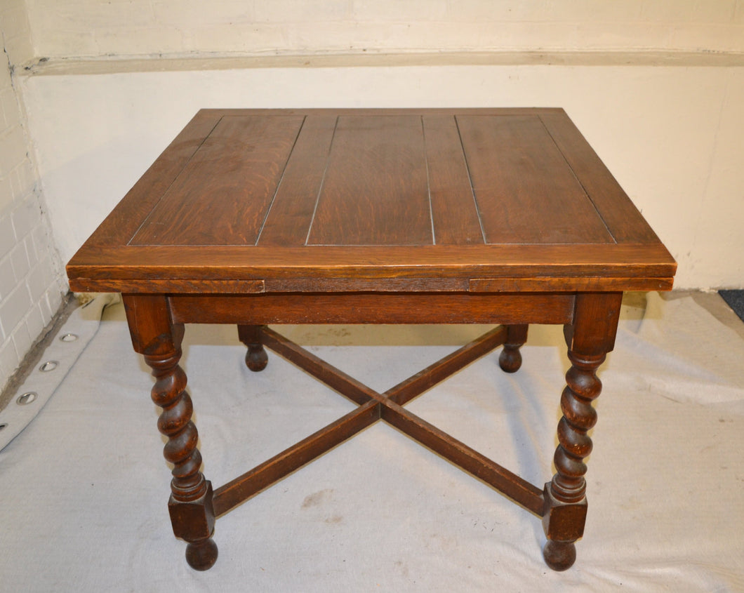 Antique 1930s Solid Oak Draw Leaf (Extendable) Dining Table - 185686