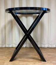 Load image into Gallery viewer, Contemporary Black Glass Top Side Table