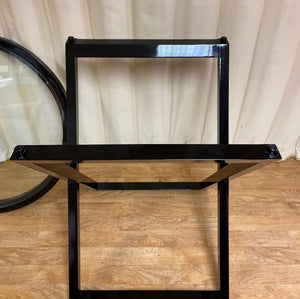 Contemporary Black Glass Top Side Table
