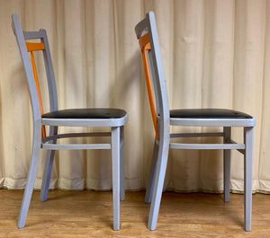 Retro Dining Chairs Orange Grey - Set of Two