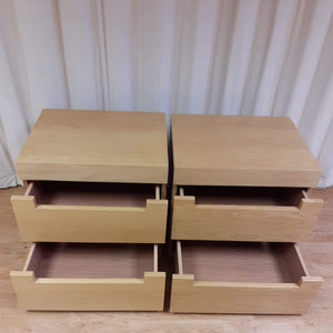 A Pair of 2 Drawer Bedside Tables, Beech