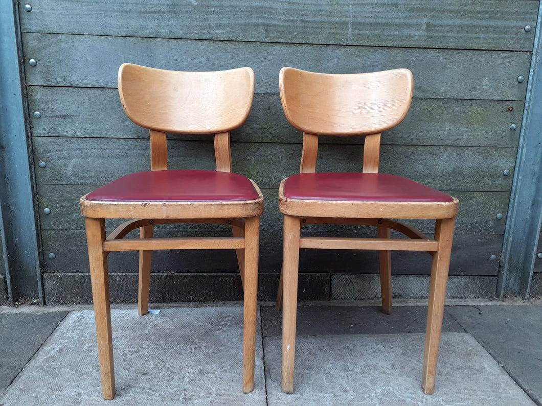 2 x Mid Century bentwood Chairs. Desk Or Dining. Retro Vintage Great Colour