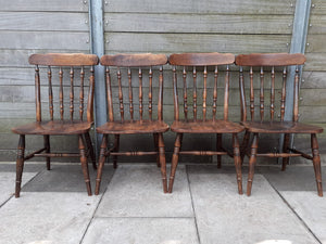 Set of 4 Vintage Wooden Dining Chairs