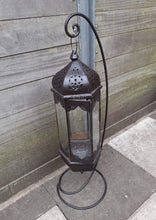 Load image into Gallery viewer, Large black rustic Moroccan floor standing lantern