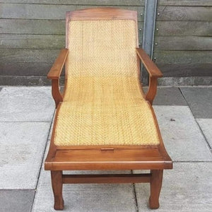 Vintage Teak and Woven Cane Planters Recliner Chair