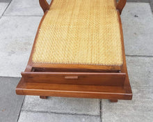 Load image into Gallery viewer, Vintage Teak and Woven Cane Planters Recliner Chair