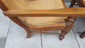 Set of 2 Vintage Teak and Woven Cane Squatters Armchairs