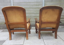 Load image into Gallery viewer, Set of 2 Vintage Teak and Woven Cane Squatters Armchairs