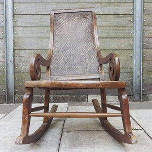 Vintage Rocking Chair, Hardwood, Rattan, Recliner