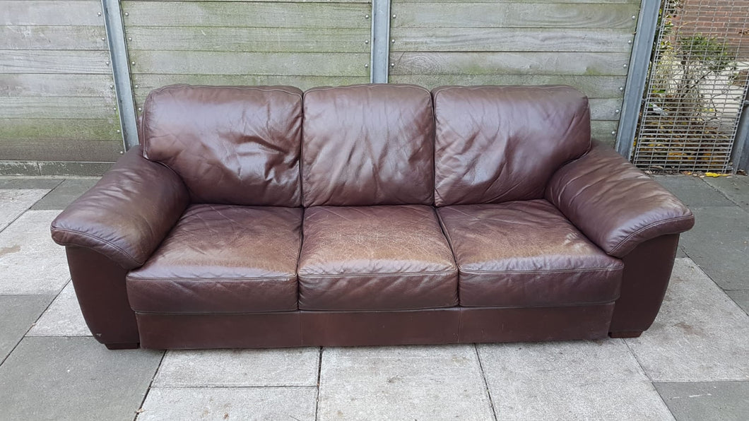 3 Seater Leather Sofa - Brown