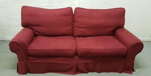 Large 2 Seater Fabric Upholstered Sofa - Red
