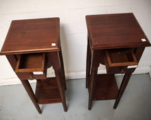 Load image into Gallery viewer, Vintage Antique Pair of Tall Wooden 1 Drawer Side Tables - 183300/183301