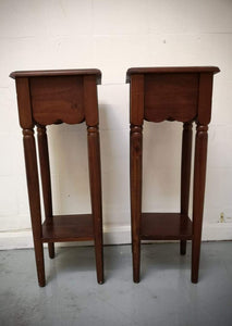Vintage Antique Pair of Tall Wooden 1 Drawer Side Tables - 183300/183301