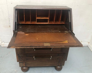Antique Dark Wood Writing Bureau With 3 Drawers - 160221-05