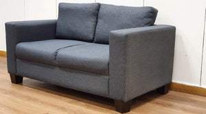 Modern Small 2 Seater Fabric Upholstered Sofa, Grey - 230221-01