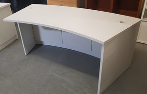 Modern White Half Round Curved Reception Desk, White - 290321-22