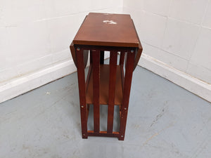 Small 2 Tier Folding Side End Table/Storage Shelf - 030421-11